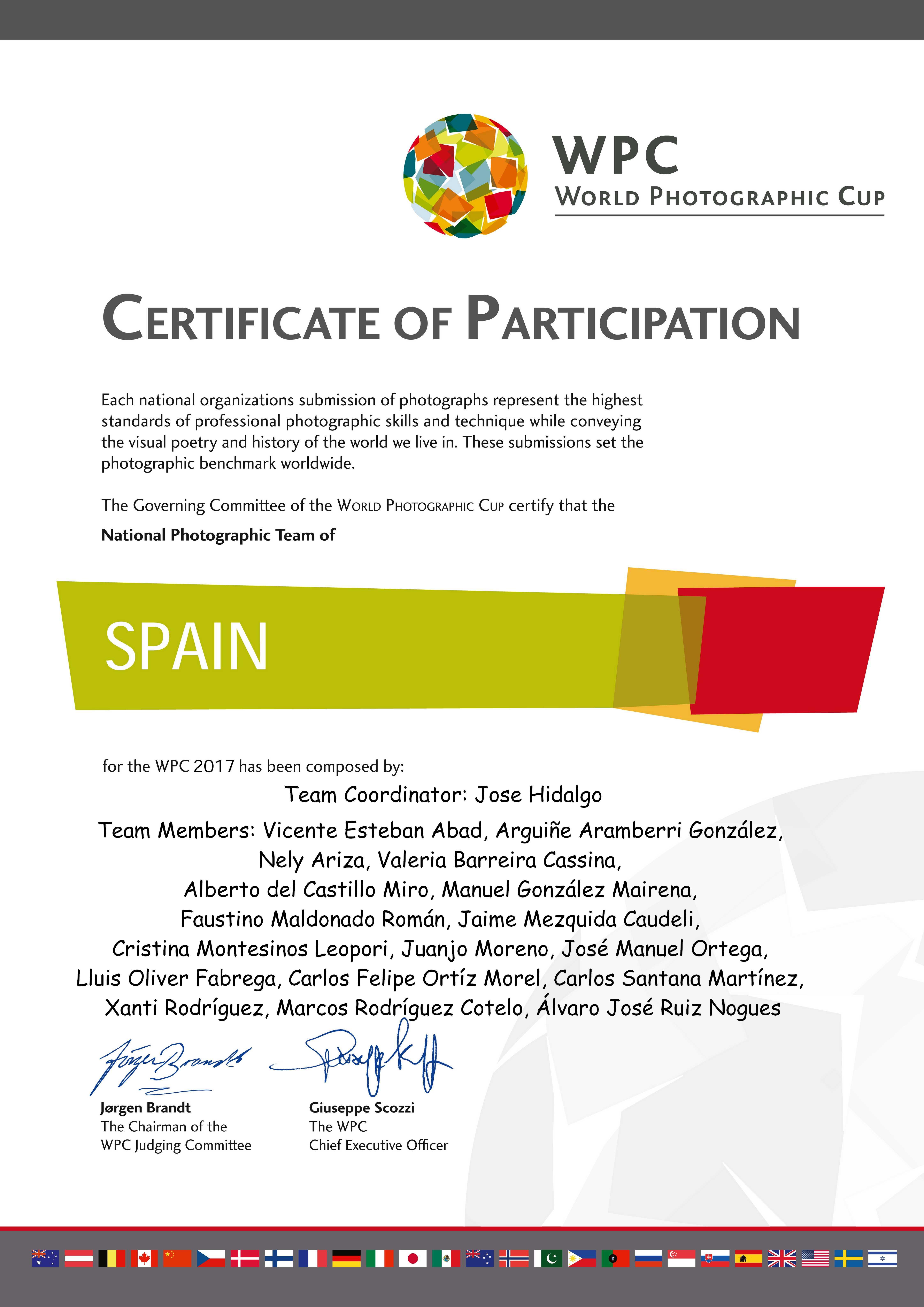 WPC certificate participation 2017 SPAIN » Fotografía de Autor, Noticias » José Manuel Ortega Fotógrafo